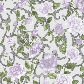 Rose Trellis Floral Wallpaper Cream Lilac