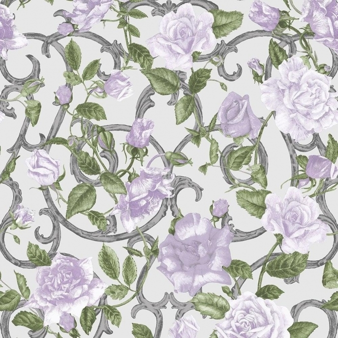 Muriva Rose Trellis Floral Wallpaper Cream, Lilac (135503)