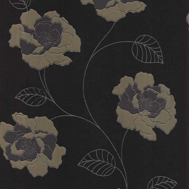Muriva Ruby Wallpaper Black / Olive (113506)