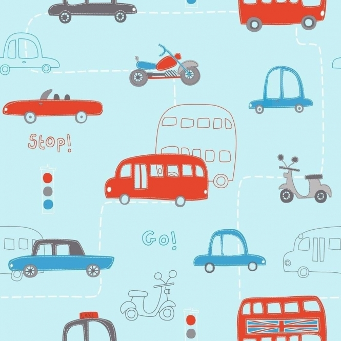Fine Decor: Hoopla Rush Hour Hoopla Wallpaper Blue / Red (DL30706)