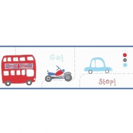 Rush Hour Hoopla Wallpaper Border Navy / White / Red (DLB07537)