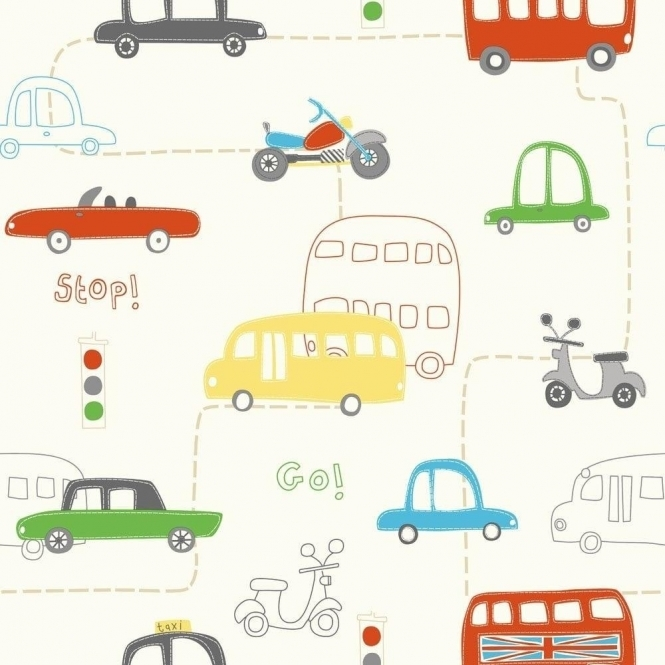 Fine Decor: Hoopla Rush Hour Hoopla Wallpaper Red, Green, Yellow (DL30708)