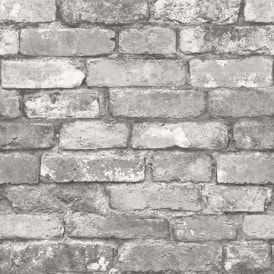 Rustic Brick Wallpaper Silver Grey