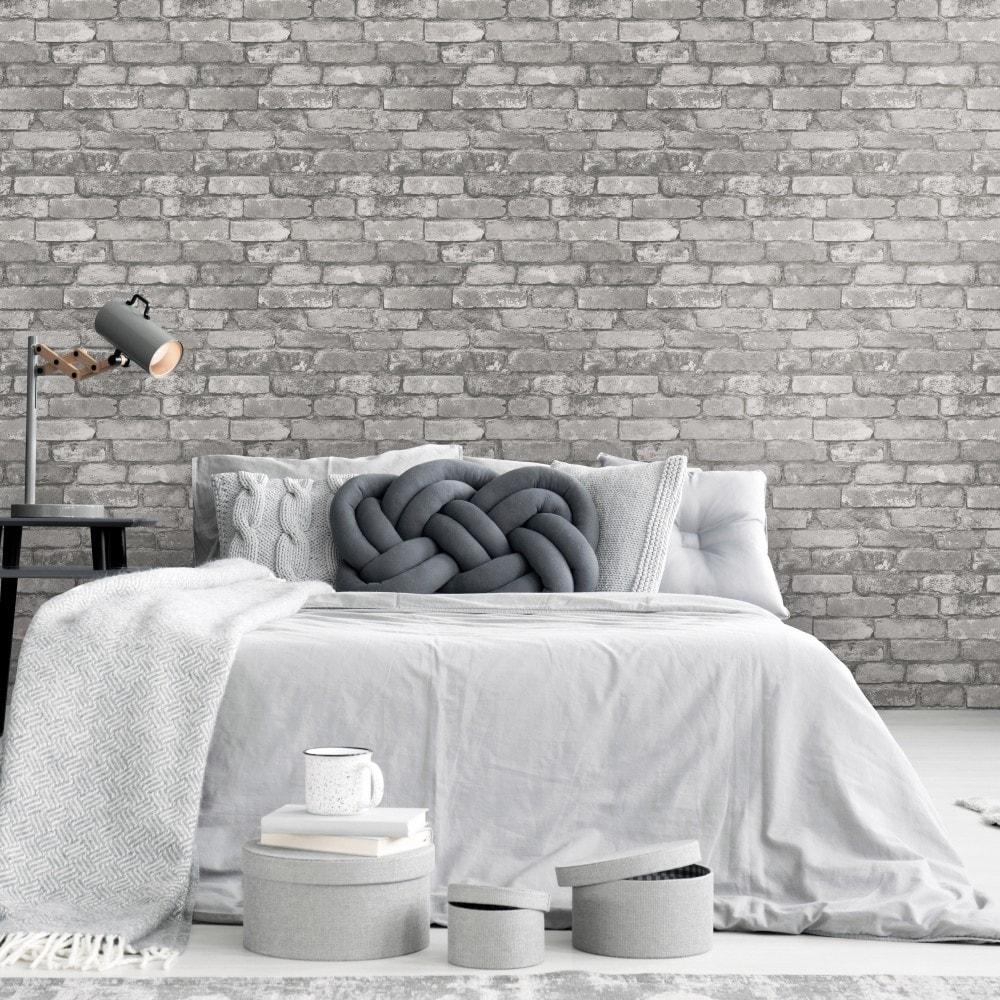 rustic brick wallpaper silver grey