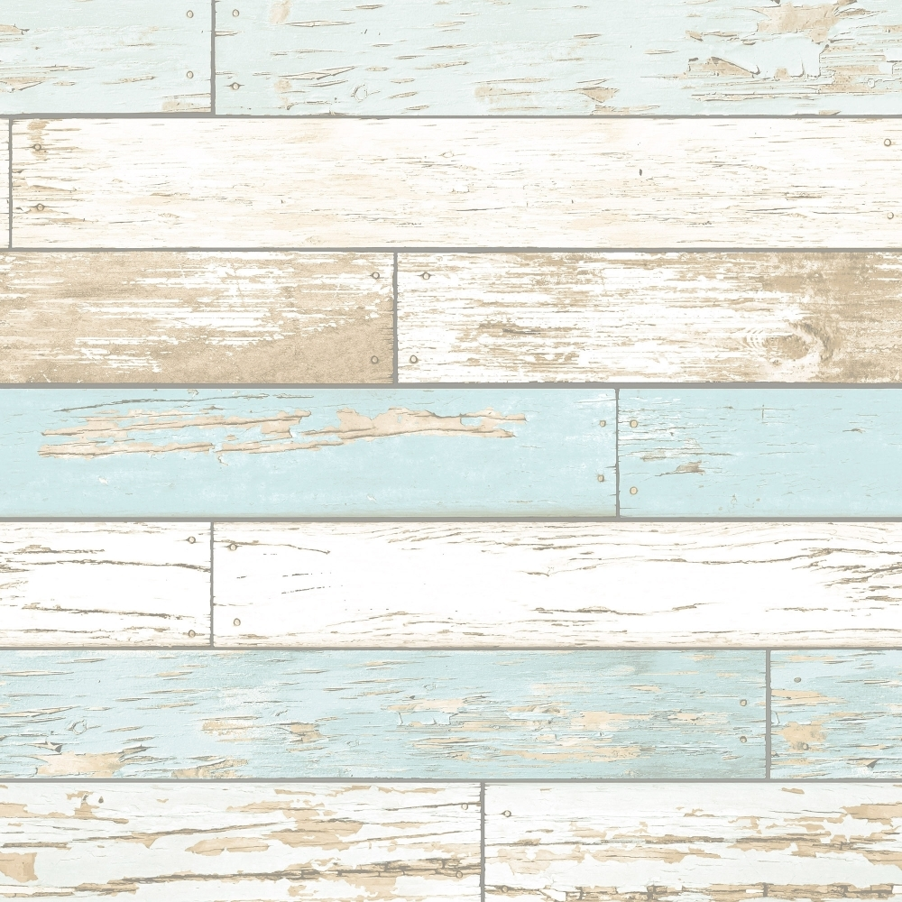 Rustic Wooden Plank Wallpaper Natural White Teal Ilw980072