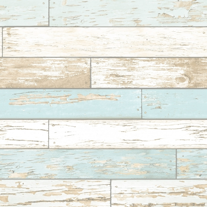 I Love Wallpaper Rustic Wooden Plank Wallpaper Natural / White / Teal (ILW980072)