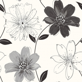 Samba Floral Glitter Wallpaper Black White