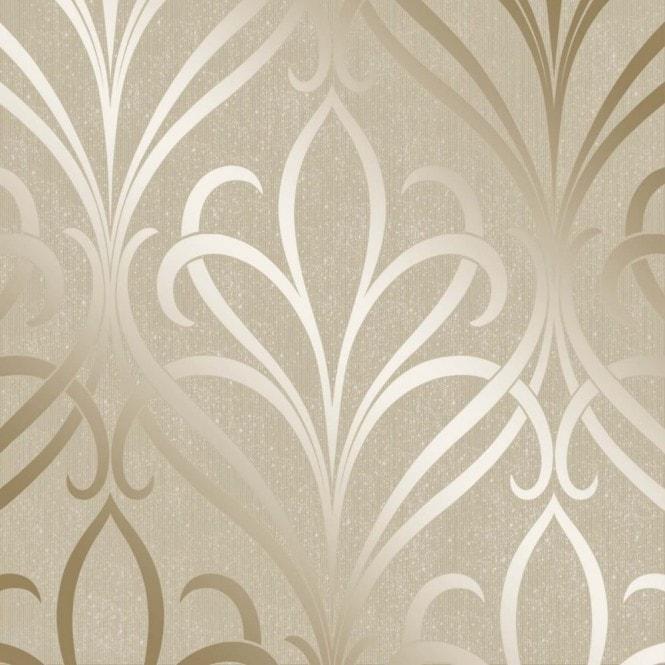 I Love Wallpaper Free Delivery code : Henderson Interiors **Sample** camden Damask Wallpaper cream / Gold (H980532-SAMPLE)