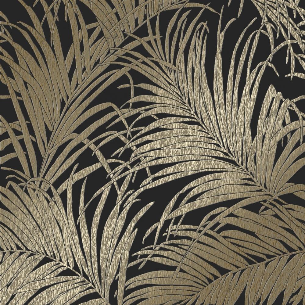 Sapphire Palm Leaf Wallpaper Black, Bronze - Wallpaper ...