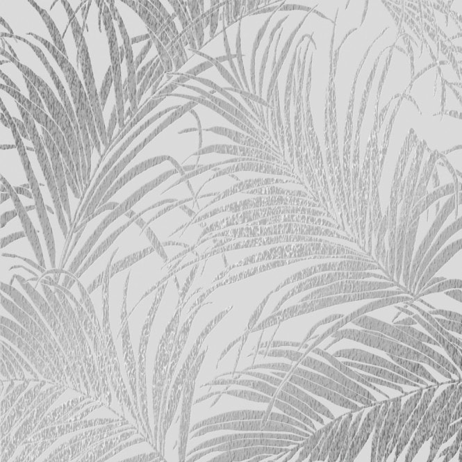 Henderson Interiors Sapphire Palm Leaf Wallpaper Grey Silver