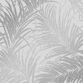 Sapphire Palm Leaf Wallpaper Grey Silver