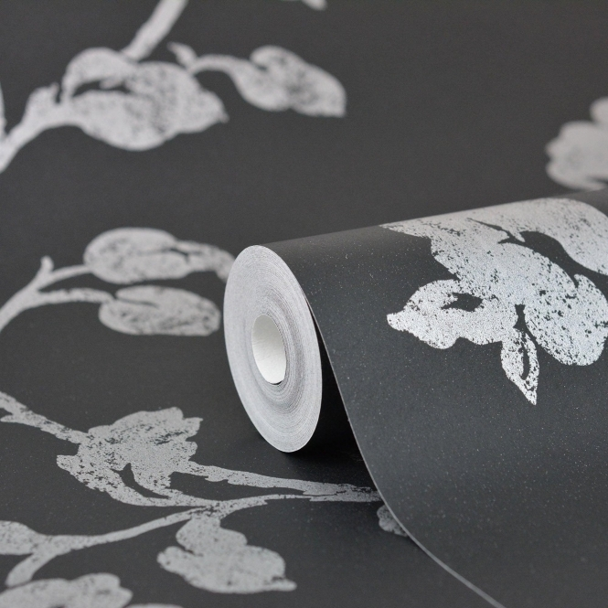 Kenneth James Savoy Floral Trail Wallpaper Black (FD51938)