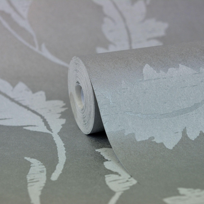Kenneth James Savoy Leaf Trail Wallpaper Silver (FD51918)