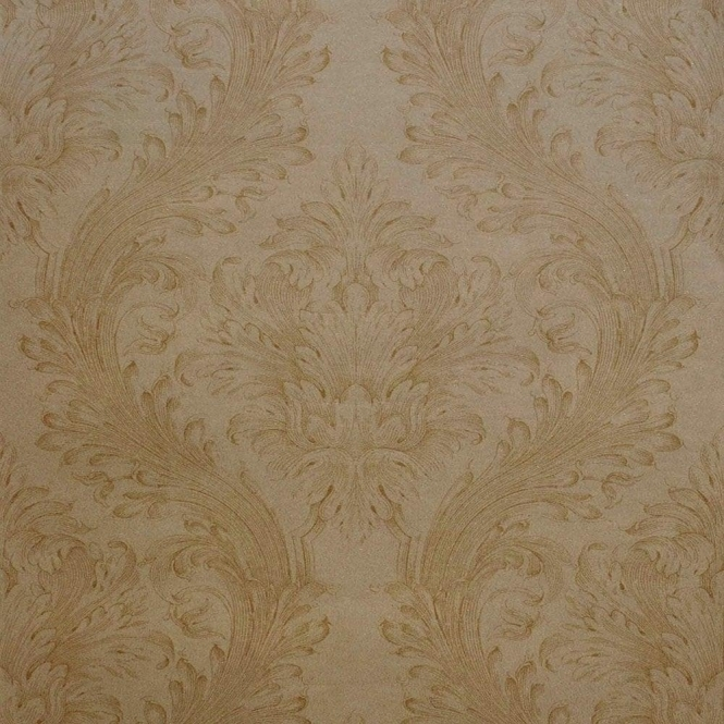Kenneth James Savoy Linen Damask Wallpaper Pewter (FD51943)