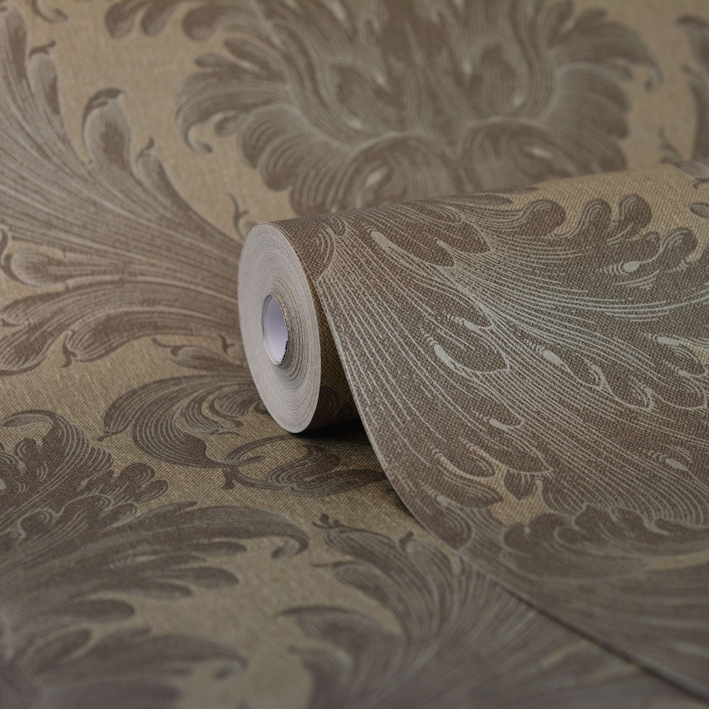 Kenneth James Savoy Linen Damask Wallpaper Taupe Silver