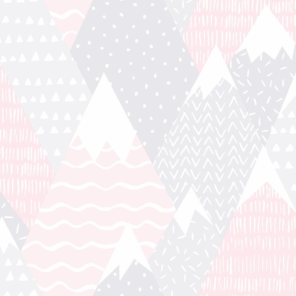 Scandi Mountains Childrens Wallpaper Pink Wallpaper From I Love Wallpaper Uk