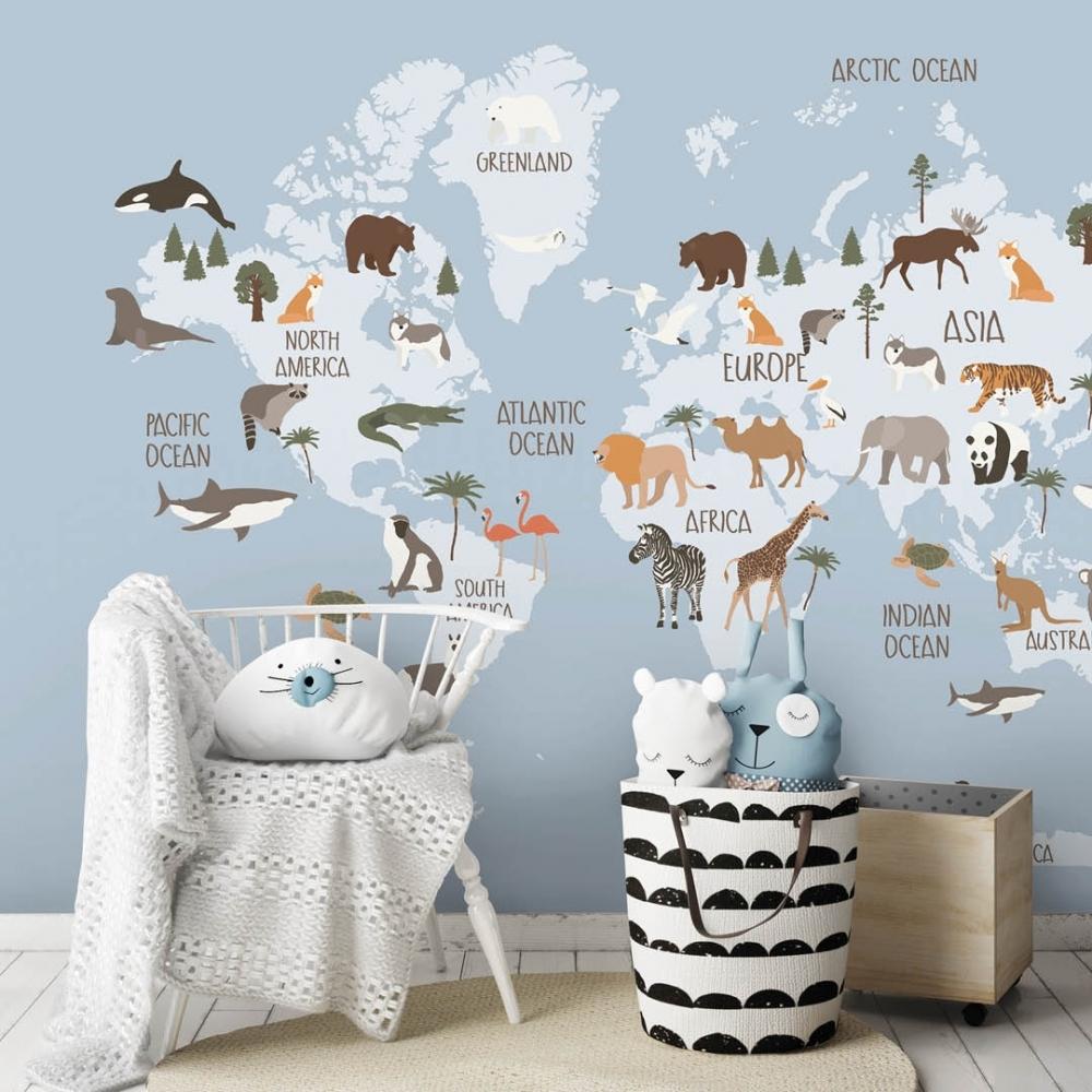 Scandi Safari Map Mural In Blue Large I Love Wallpaper
