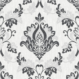 Senator Damask Glitter Wallpaper Black
