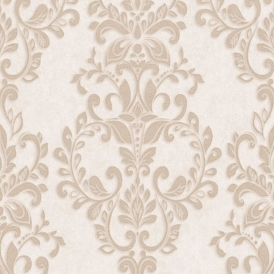 Serafina Damask Heavyweight Vinyl Wallpaper Gold