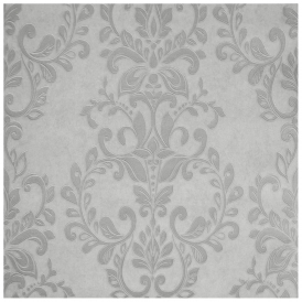 Serafina Damask Wallpaper Silver Soft Grey