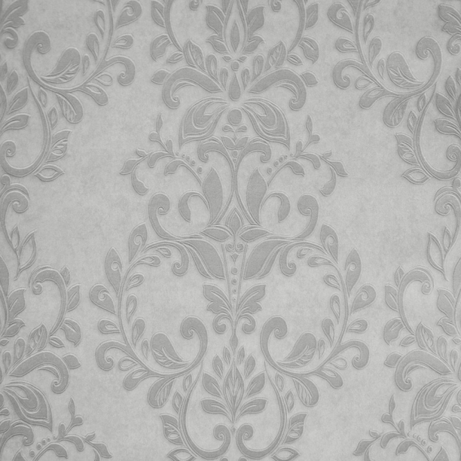 Muriva Serafina Damask Wallpaper Silver, Soft Grey (701310)