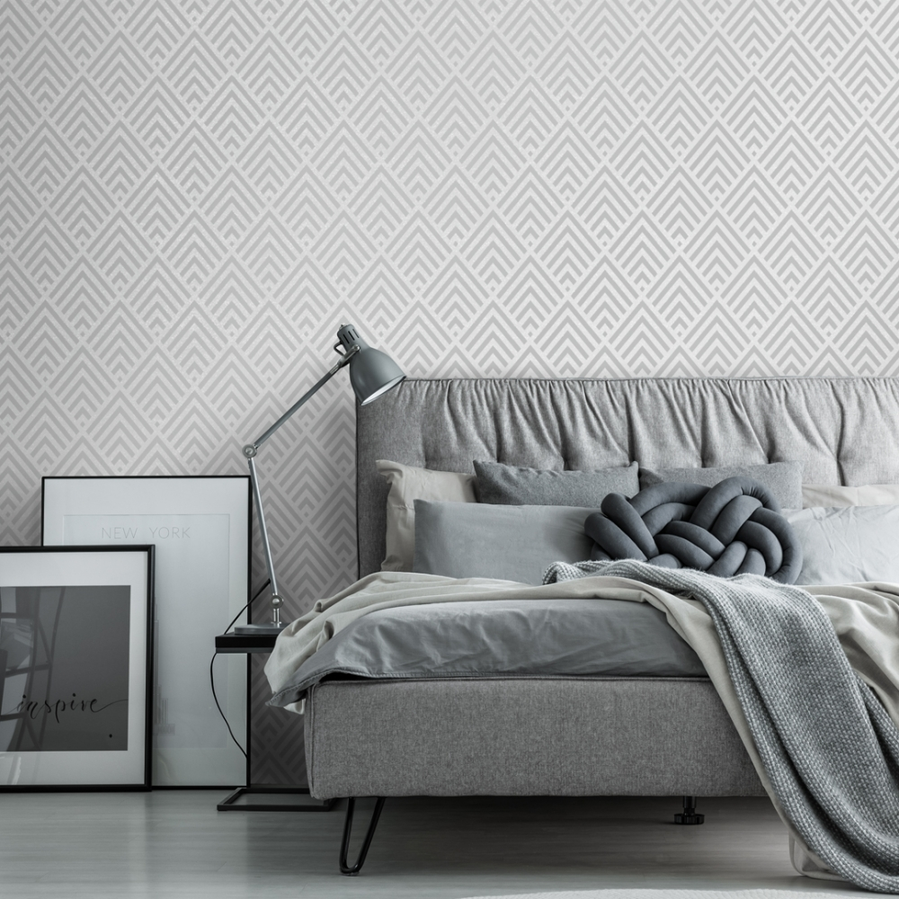 Shard Glitter Geometric Wallpaper Grey Silver Wallpaper From I