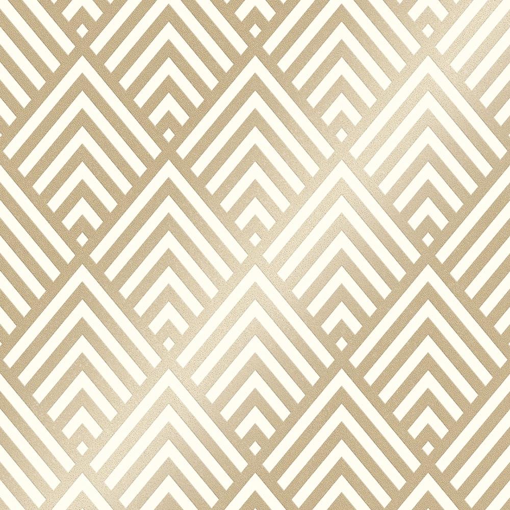 Shard Glitter Geometric Wallpaper White Gold