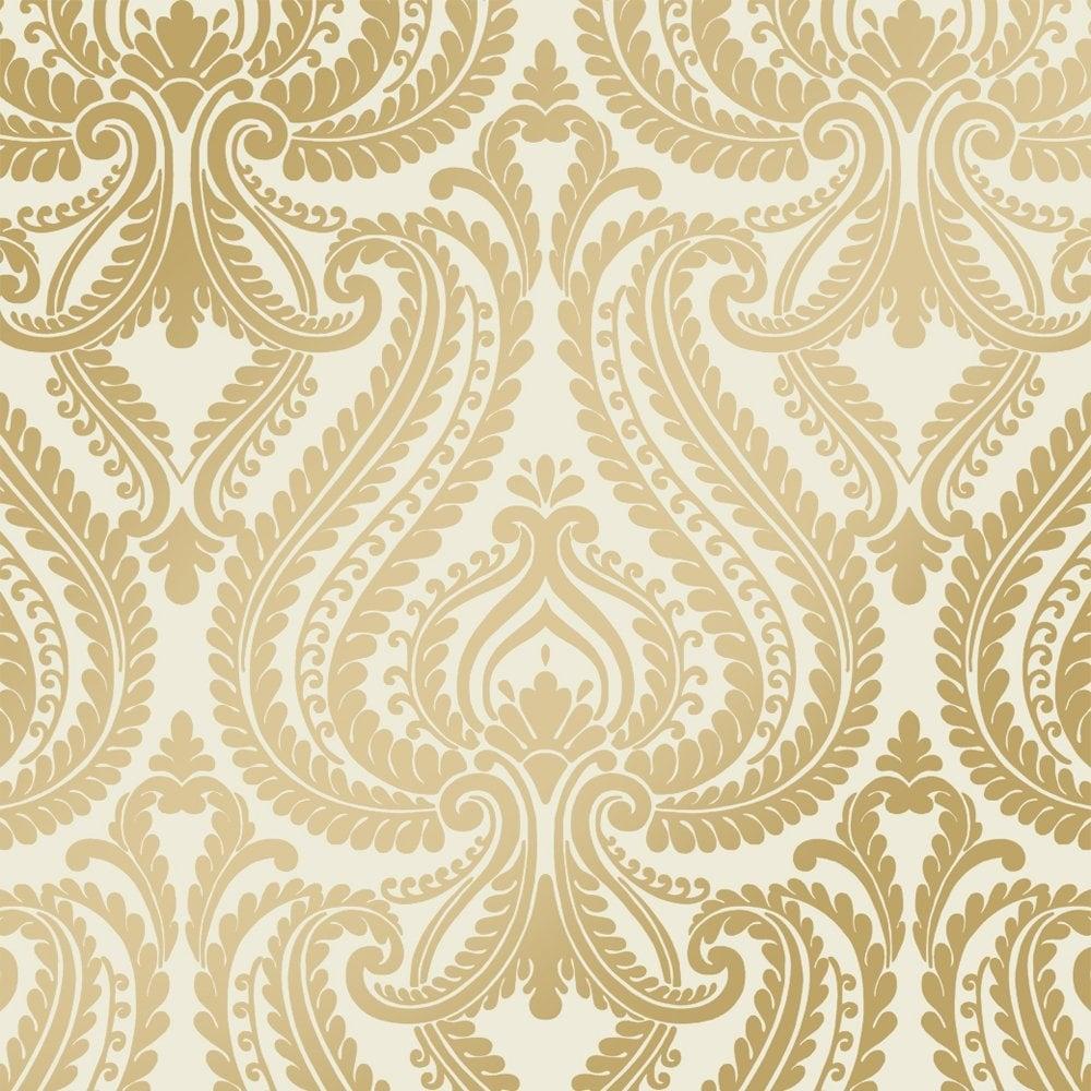 I Love Wallpaper Shimmer Damask Metalic Wallpaper Cream