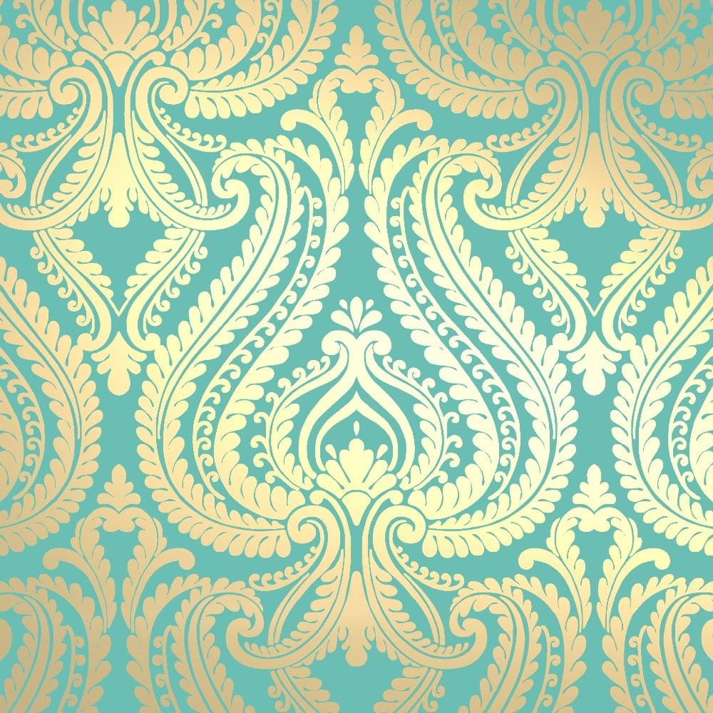 I Love Wallpaper Free Delivery code : I Love Wallpaper Shimmer Damask Metallic Wallpaper Rich Teal / Gold (ILW980014) - Wallpaper from ...