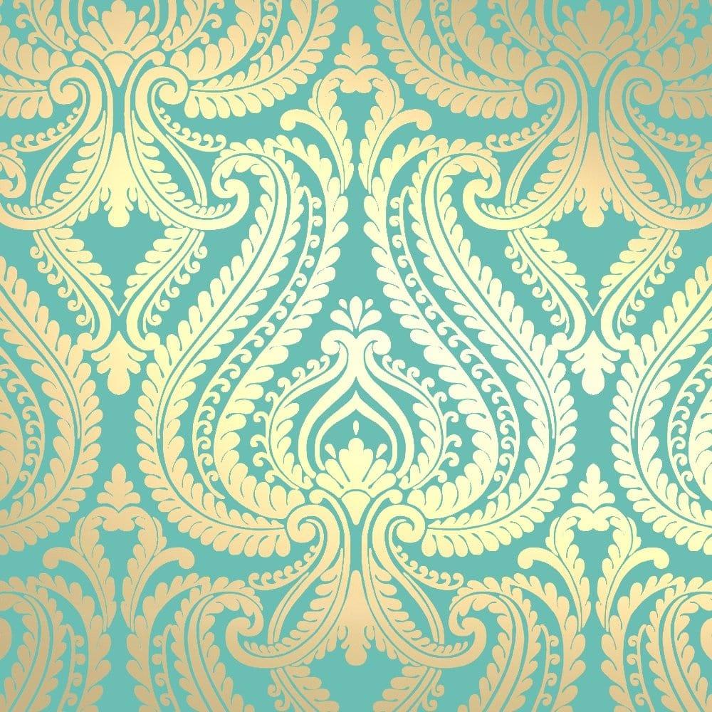 Shimmer Damask Metallic Wallpaper Rich Teal Gold - ILW980014 - I Love Wallpaper Shimmer Damask Metallic Wallpaper Rich Teal