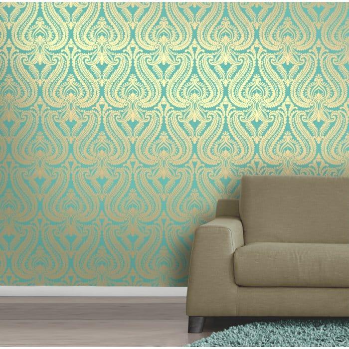 Shimmer Damask Metallic Wallpaper Rich Teal Gold   ILW980014 Part 95