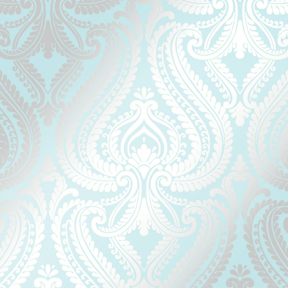 Shimmer Damask Metallic Wallpaper Teal Silver Wallpaper From I