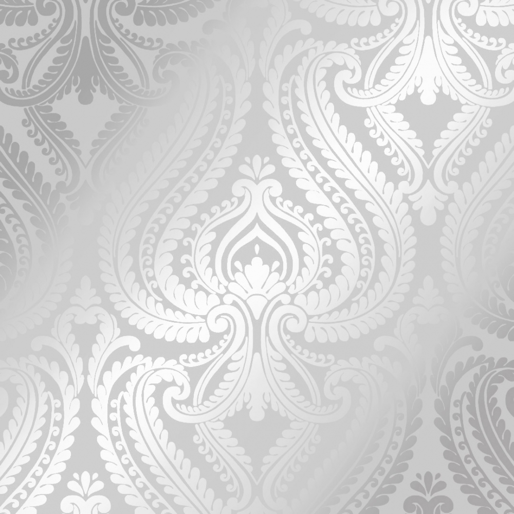 Shimmer Damask Wallpaper Soft Grey Silver