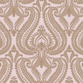 Shimmer Damask Wallpaper Soft Pink Rose Gold