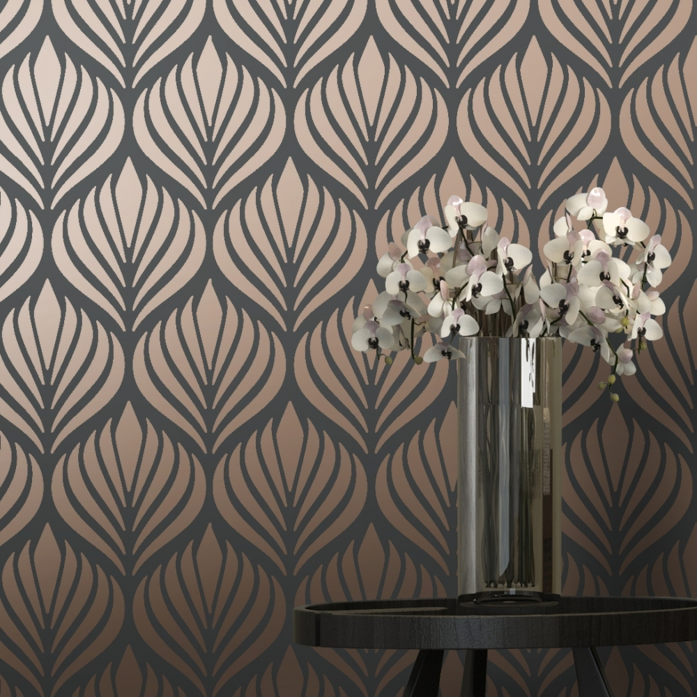 Shimmer Desire Wallpaper Charcoal Copper 50040
