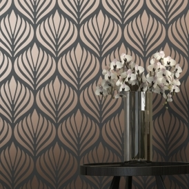 Shimmer Desire Wallpaper Charcoal / Copper (50040)