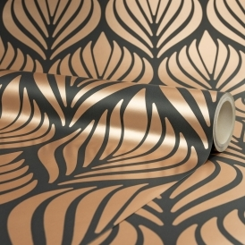 Shimmer Desire Wallpaper Charcoal Copper