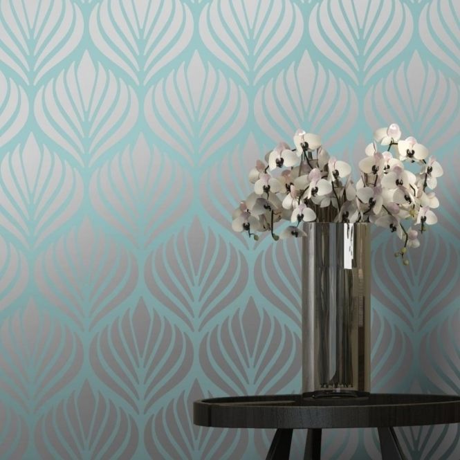 I Love Wallpaper Shimmer Desire Wallpaper Teal Silver