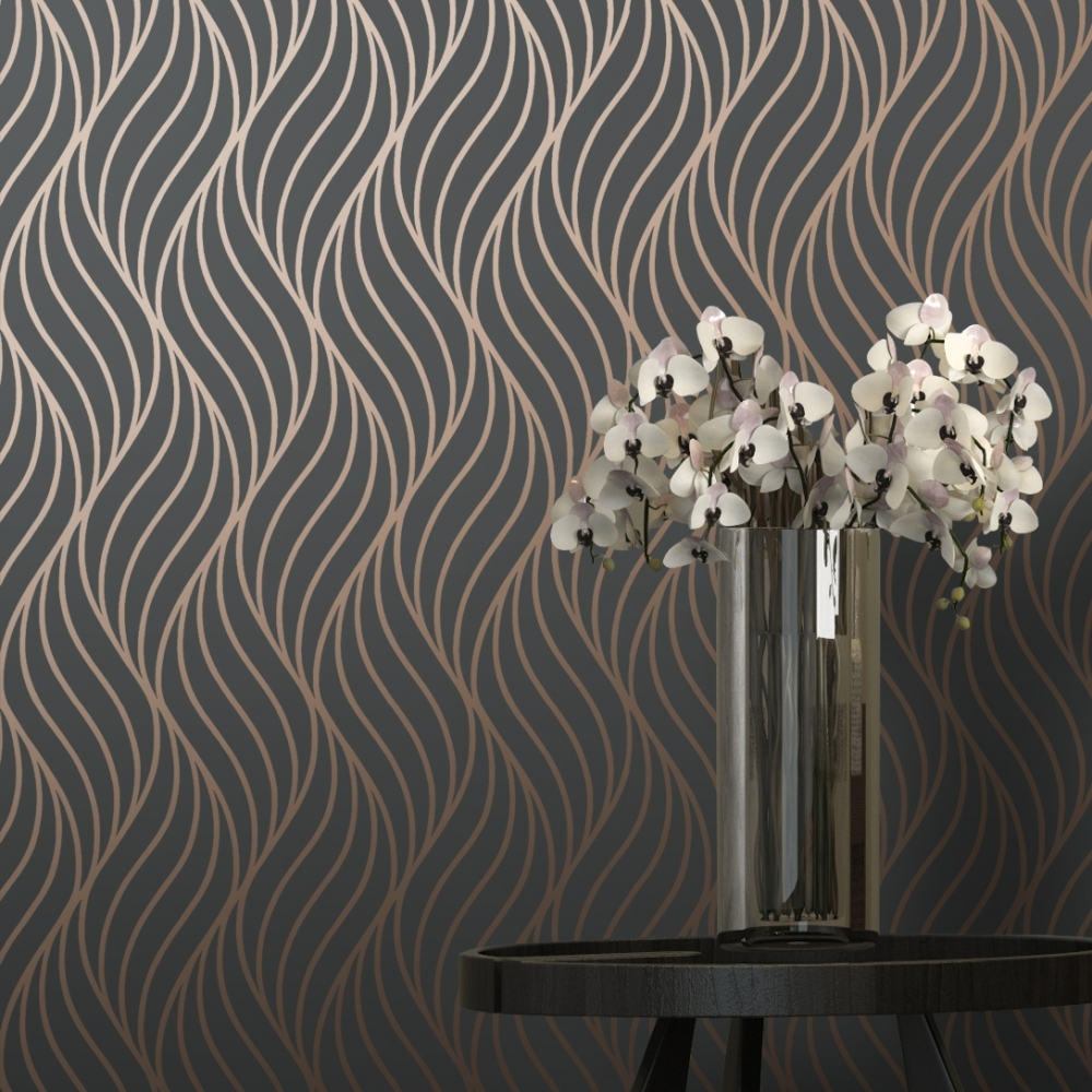 I love wallpaper shimmer indulge wallpaper charcoal for Black and cream wallpaper