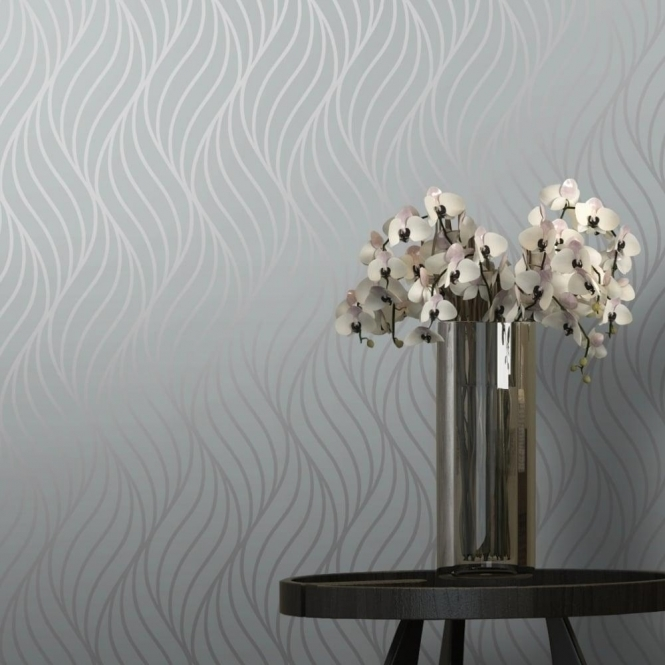 I Love Wallpaper Shimmer Indulge Wallpaper Grey / Silver (INDULGEGREY)