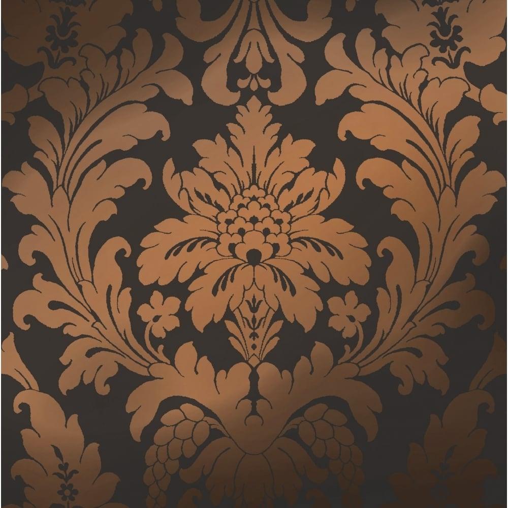 Shimmer Metallic Grande Damask Wallpaper Charcoal Copper