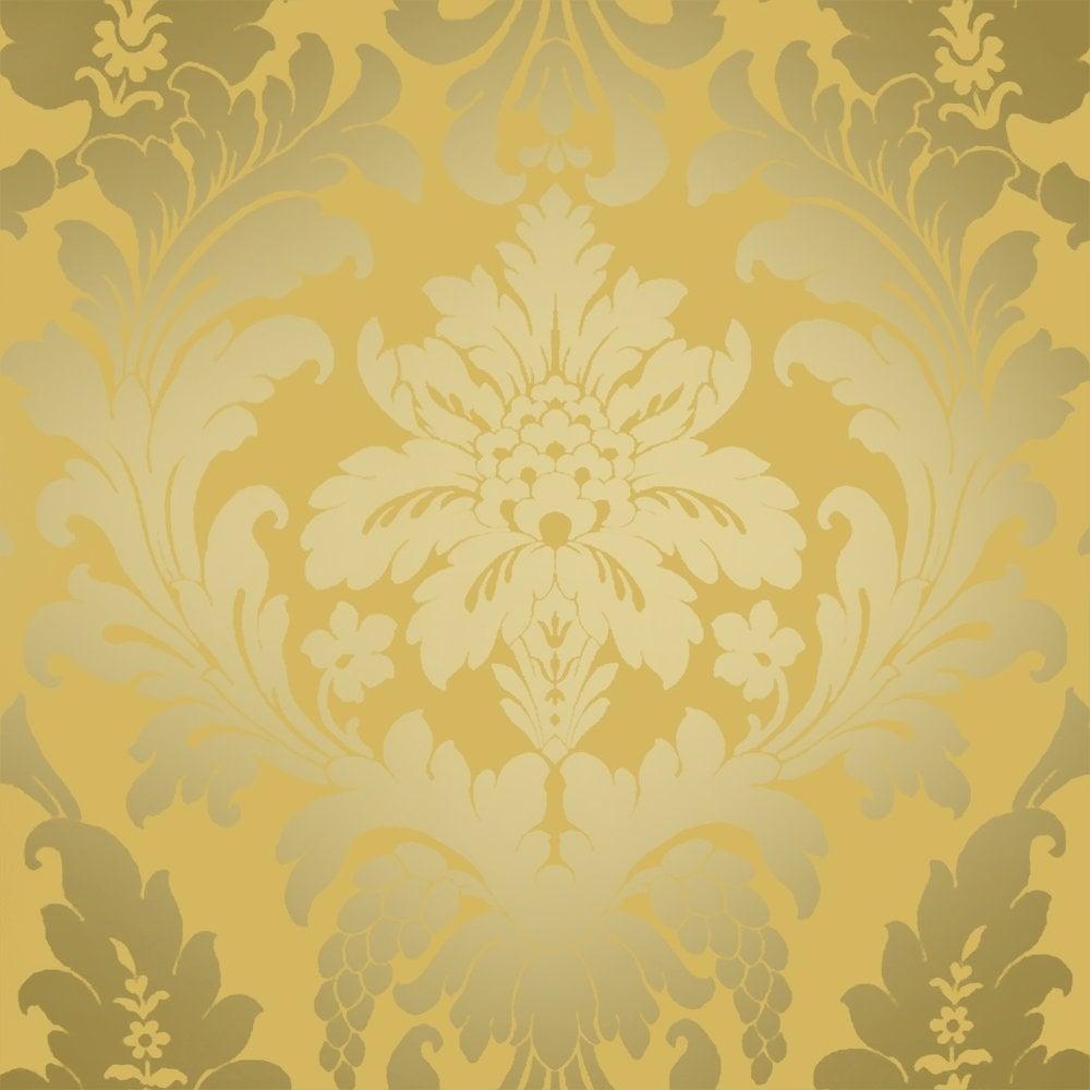 Shimmer Metallic Grande Damask Wallpaper Mustard Gold