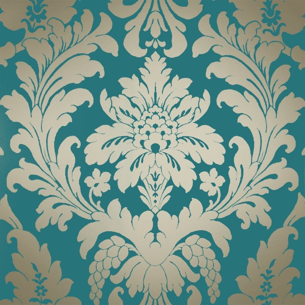 Shimmer Metallic Grande Damask Wallpaper Rich Teal Gold Ilw261522