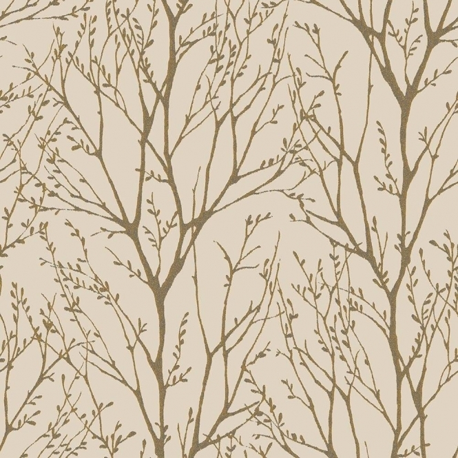 I Love Wallpaper Shimmer Tree Wallpaper Mushroom / Gold (ILW980035)
