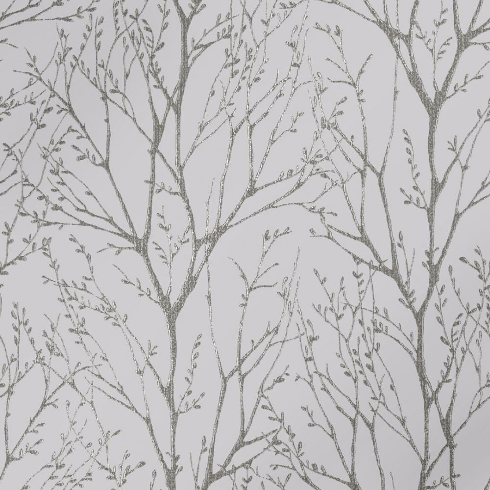 I Love Wallpaper Shimmer Tree Wallpaper Soft Grey Silver Wallpaper