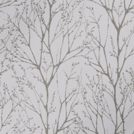 Shimmer Tree Wallpaper Soft Grey Silver
