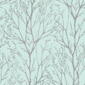 Shimmer Tree Wallpaper Teal Silver