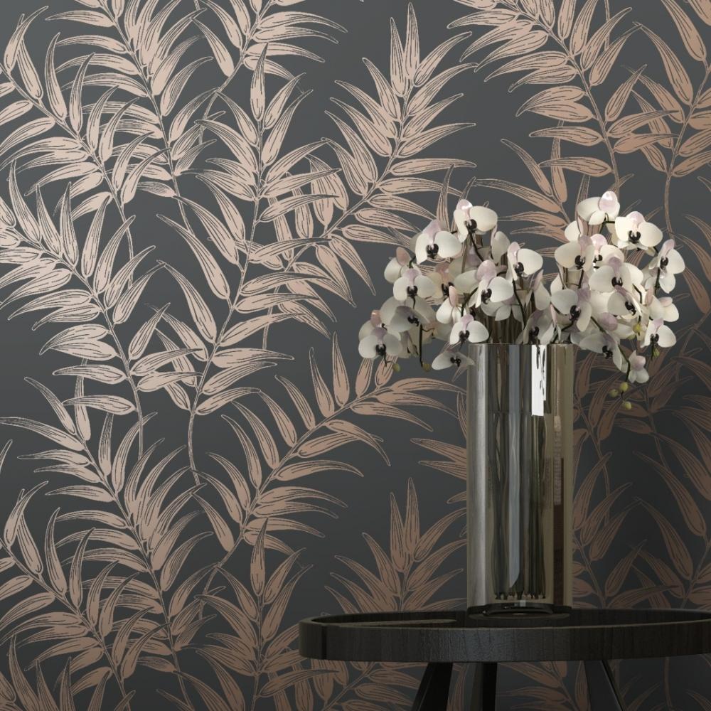 Shimmer Virtue Wallpaper Charcoal Copper 50050