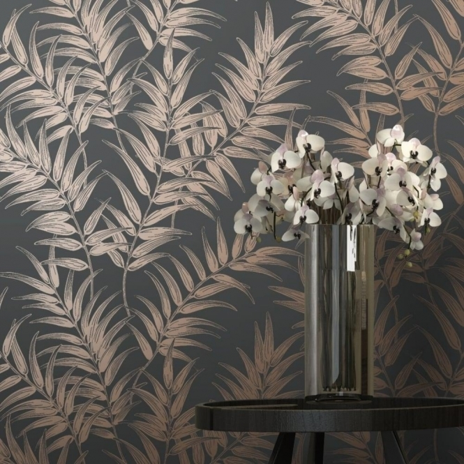 I Love Wallpaper Shimmer Virtue Wallpaper Charcoal / Copper (50050)