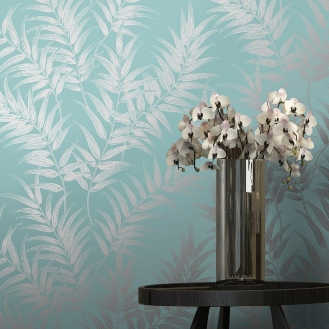 I Love Wallpaper Shimmer Virtue Wallpaper Teal / Silver (50051)